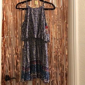 Blue and white tribal print dress